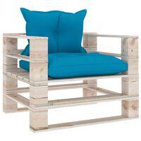 vidaXL Canapea grădină din paleți, cu perne albastre, lemn de pin