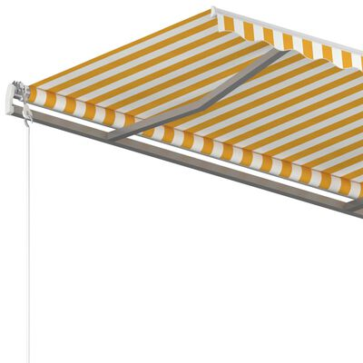 vidaXL Copertină retractabilă automat cu stâlpi, galben&alb 3,5x2,5 m