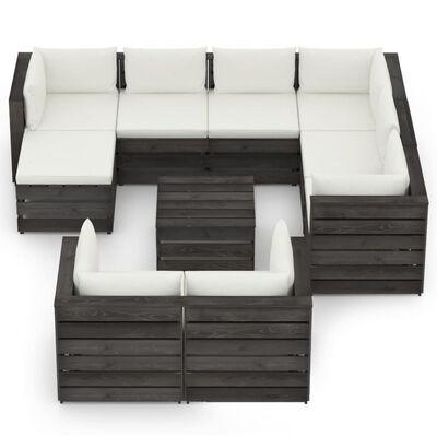 vidaXL Set mobilier grădină cu perne, 10 piese, gri, lemn tratat