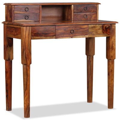 vidaXL Birou de lucru, 5 sertare, lemn masiv de sheesham, 90x40x90 cm