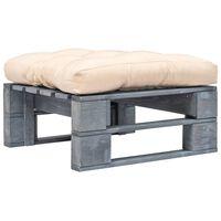 vidaXL Taburet de grădină din paleți cu pernă nisipie, lemn gri