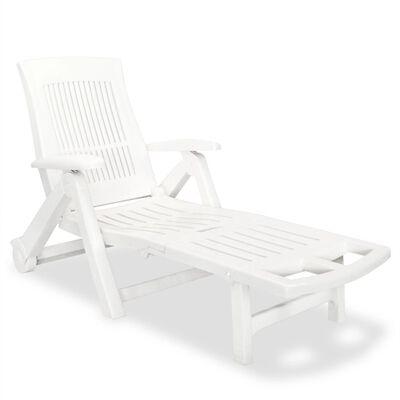 vidaXL Șezlong de plajă cu suport picioare, alb, plastic