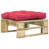vidaXL Taburet de grădină din paleți cu pernă roșie, lemn verde