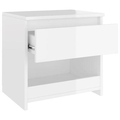 vidaXL Noptiere, 2 buc., alb extralucios, 40x30x39 cm, PAL