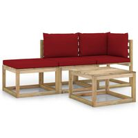 vidaXL Set mobilier de grădină cu perne roșu vin, 4 piese