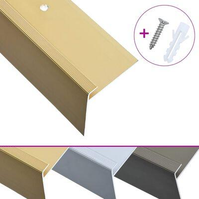 vidaXL Profile trepte în formă de F, 15 buc., auriu, 134 cm, aluminiu