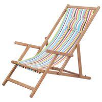 vidaXL Scaun de plajă pliabil, multicolor, textil și cadru din lemn
