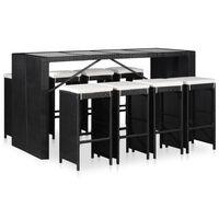 vidaXL Set de masă și scaune de exterior, 9 piese, negru, poliratan