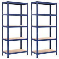 vidaXL Rafturi depozitare, 2 buc., albastru, 80x40x180 cm, oțel și MDF