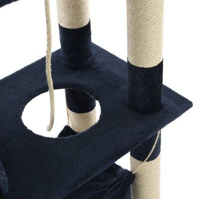 vidaXL Ansamblu de joacă pisici, stâlpi sisal, 140 cm, albastru închis