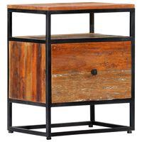 vidaXL Noptieră, 40 x 30 x 50 cm, lemn masiv reciclat și oțel