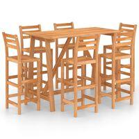 vidaXL Set mobilier bar de exterior, 7 piese, lemn masiv de acacia