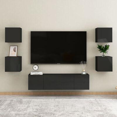 vidaXL Dulapuri TV suspendate 2 buc. negru extralucios 30,5x30x30 cm