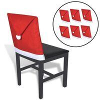 6 Huse pentru spătarul scaunului în formă de căciula lui Moș Crăciun