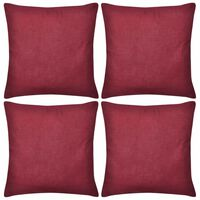 Huse de pernă din bumbac, 40 x 40 cm, roșu burgund, 4 buc.
