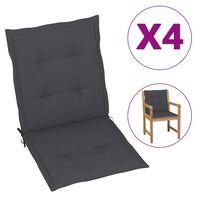 vidaXL Perne pentru scaun de grădină, 4 buc., antracit, 100x50x7 cm