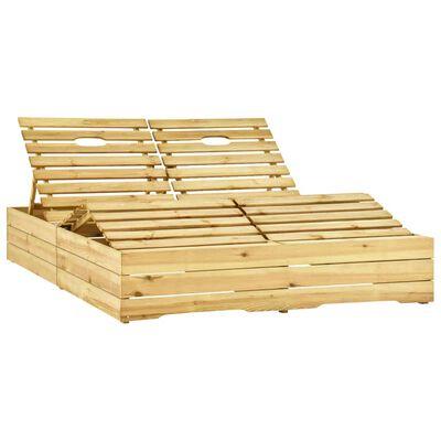 vidaXL Șezlong dublu și cu perne verzi, lemn de pin tratat