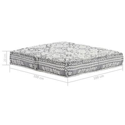 vidaXL Fotoliu puf, 100 x 100 x 20 cm, gri deschis, material textil