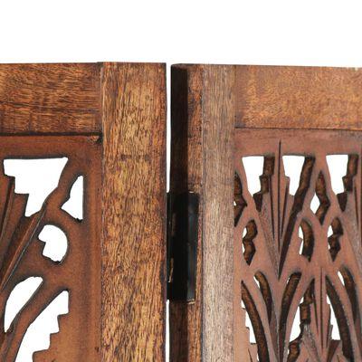 vidaXL Paravan cameră sculptat manual 3 panouri maro 120x165 cm mango