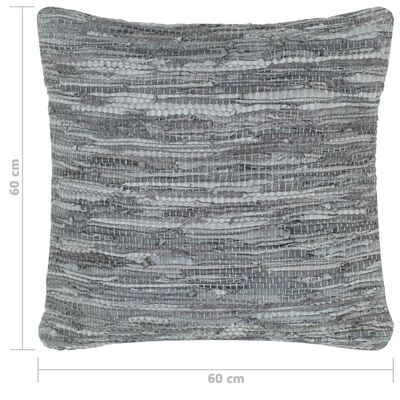 vidaXL Pernă Chindi, gri, 60 x 60 cm, piele și bumbac
