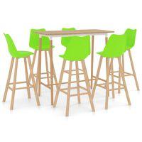 vidaXL Set mobilier de bar, 7 piese, verde
