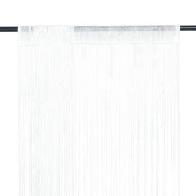 vidaXL Draperii franjuri, 2 buc., 100 x 250 cm, alb