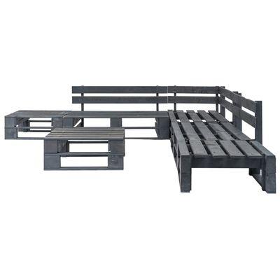 vidaXL Set mobilier de grădină din paleți, 6 piese, gri, lemn