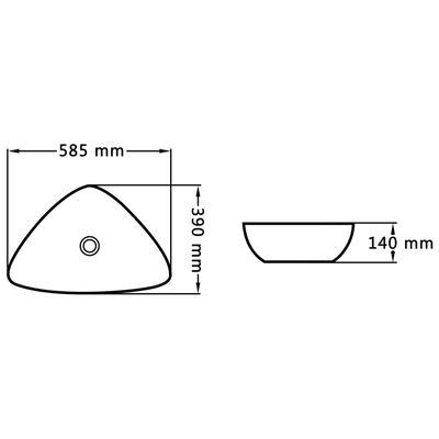 vidaXL Chiuvetă de baie, alb, 58,5 x 39 x 14 cm, ceramică