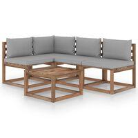 vidaXL Set mobilier de grădină, 5 piese, cu perne gri