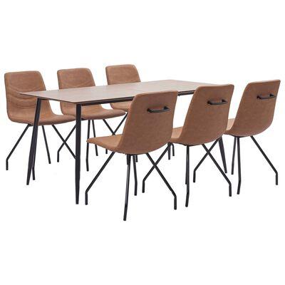vidaXL Set de masă, 7 piese, maro, piele ecologică