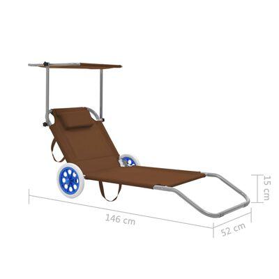vidaXL Șezlong de plajă pliabil cu baldachin și roți, gri taupe, oțel