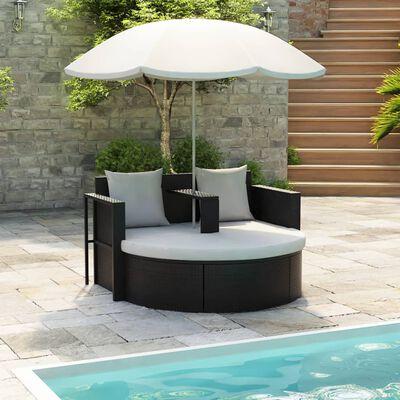 vidaXL Pat de grădină cu umbrelă de soare, negru, poliratan