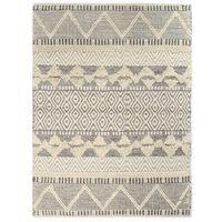 vidaXL Covor lână țesut manual, 160 x 230 cm, alb/gri/negru/maro