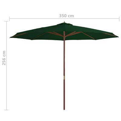 vidaXL Umbrelă de soare de exterior, stâlp din lemn, verde, 350 cm