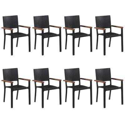 vidaXL Set mobilier de grădină, 9 piese, negru
