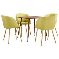 vidaXL Set mobilier de bucătărie, 5 piese, verde, material textil