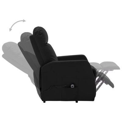 vidaXL Fotoliu rabatabil cu ridicare verticală, negru, piele ecologică