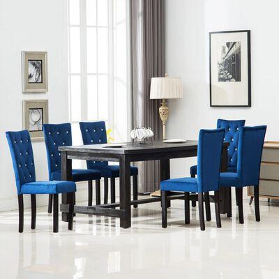 vidaXL Scaune de bucătărie, 6 buc., albastru închis, catifea