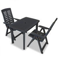 vidaXL Set mobilier bistro, 3 piese, antracit, plastic