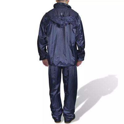 Costum ploaie bărbați 2 piese cu glugă  Bleumarin M