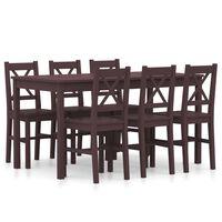 vidaXL Set mobilier de bucătărie, 9 piese, maro închis, lemn de pin
