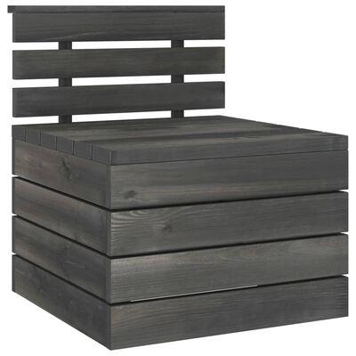 vidaXL Set mobilier grădină din paleți, 10 piese, gri închis, lemn pin