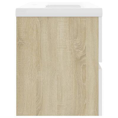 vidaXL Dulap cu chiuvetă încorporată, alb și stejar sonoma, PAL