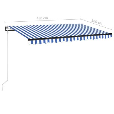 vidaXL Copertină automată cu senzor vânt&LED, albastru/alb, 450x300 cm