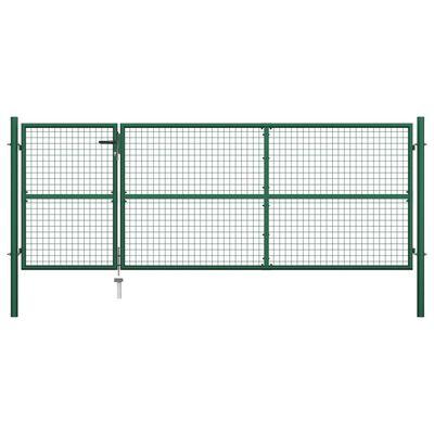 vidaXL Poartă de grădină, verde, 350 x 125 cm, oțel