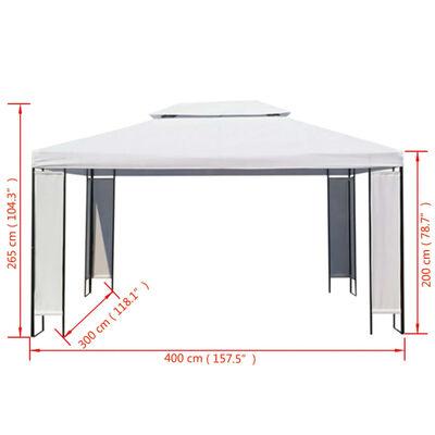 vidaXL Pavilion, alb, 3 x 4 m