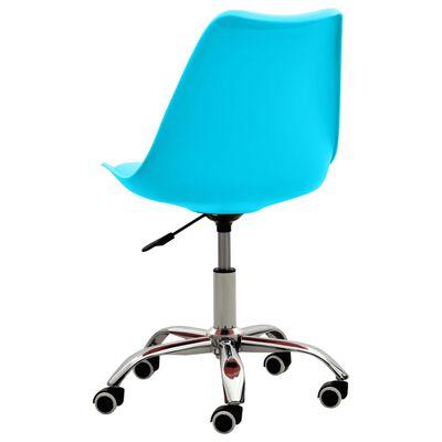 vidaXL Scaune de birou, 2 buc., albastru, piele ecologică