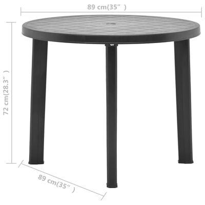 vidaXL Masă de grădină, antracit, 89 cm, plastic