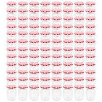 vidaXL Borcane de sticlă pentru gem capace alb & roșu 96 buc. 230 ml