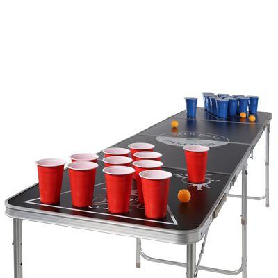 HI Masă pliabilă pentru Beer Pong, înălțime reglabilă, negru